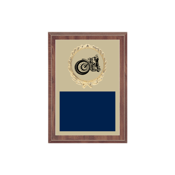 "5"" x 7"" Motorcycle Riding Plaque with gold background plate, colored engraving plate, gold wreath medallion and Motorcycle Riding insert."