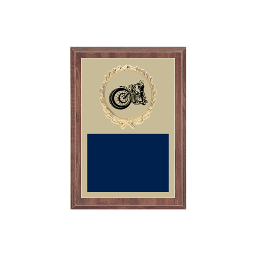 """5"""" x 7"""" Motorcycle Riding Plaque with gold background plate, colored engraving plate, gold wreath medallion and Motorcycle Riding insert."""