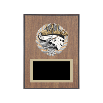 "6"" x 8"" Music Plaque with gold background plate, colored engraving plate and full color 3D resin Music medallion."