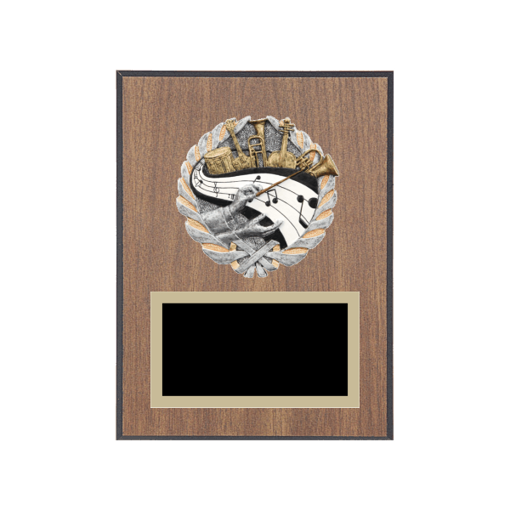 """6"""" x 8"""" Music Plaque with gold background plate, colored engraving plate and full color 3D resin Music medallion."""