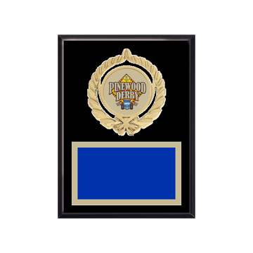 "6"" x 8"" Pinewood Derby Plaque with gold background plate, colored engraving plate, gold open wreath medallion holder and Pinewood Derby insert."