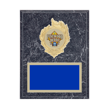 "7"" x 9"" Pinewood Derby Plaque with gold background, colored engraving plate, gold flame medallion holder and Pinewood Derby insert."