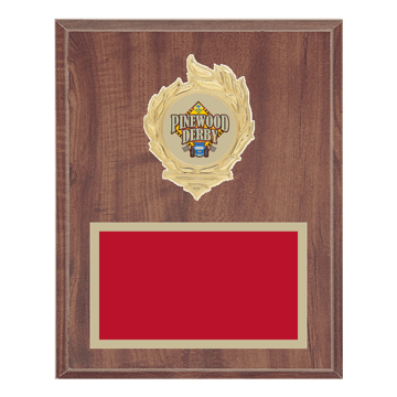 "8"" x 10"" Pinewood Derby Plaque with gold background, colored engraving plate, gold flame medallion holder and Pinewood Derby insert."