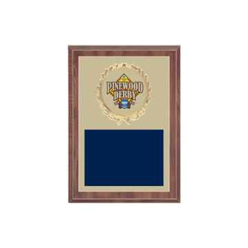 "5"" x 7"" Pinewood Derby Plaque with gold background plate, colored engraving plate, gold wreath medallion and Pinewood Derby insert."
