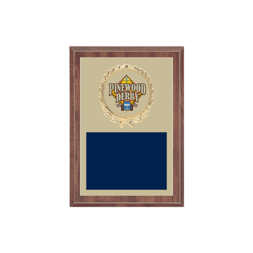 """5"""" x 7"""" Pinewood Derby Plaque with gold background plate, colored engraving plate, gold wreath medallion and Pinewood Derby insert."""