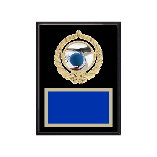 """6"""" x 8"""" Racquetball Plaque with gold background plate, colored engraving plate, gold open wreath medallion holder and Racquetball insert."""