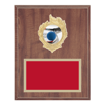"8"" x 10"" Racquetball Plaque with gold background, colored engraving plate, gold flame medallion holder and Racquetball insert."