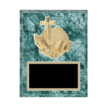 "7"" x 9"" Religion Plaque with gold background plate, colored engraving plate and gold 3D Religion medallion."