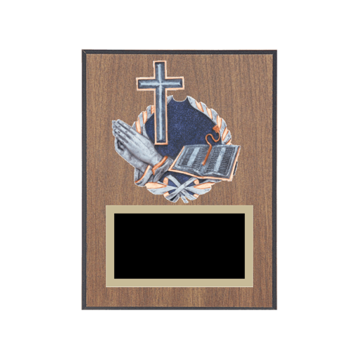 """6"""" x 8"""" Religion Plaque with gold background plate, colored engraving plate and full color 3D resin Religion medallion."""