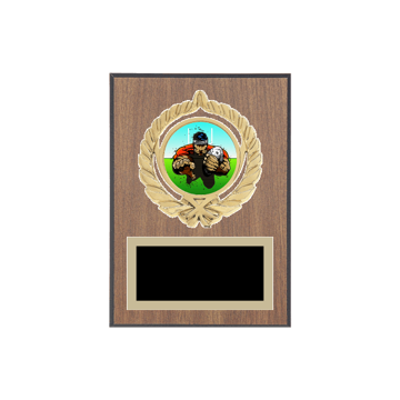 "5"" x 7"" Rugby Plaque with gold background plate, colored engraving plate, gold open wreath medallion holder and Rugby insert."