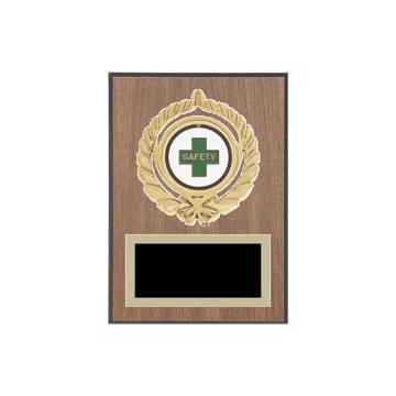 "5"" x 7"" Safety Plaque with gold background plate, colored engraving plate, gold open wreath medallion holder and Safety insert."