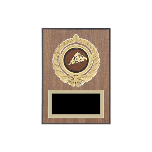 "5"" x 7"" Shuffleboard Plaque with gold background plate, colored engraving plate, gold open wreath medallion holder and Shuffleboard insert."
