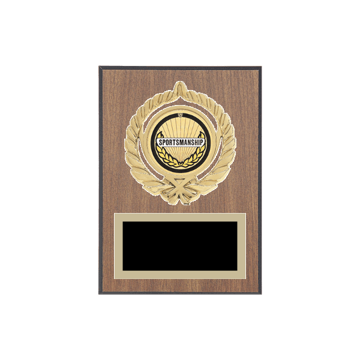 "5"" x 7"" Sportsmanship Plaque with gold background plate, colored engraving plate, gold open wreath medallion holder and Sportsmanship insert."