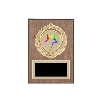"5"" x 7"" Star Plaque with gold background plate, colored engraving plate, gold open wreath medallion holder and Star insert."