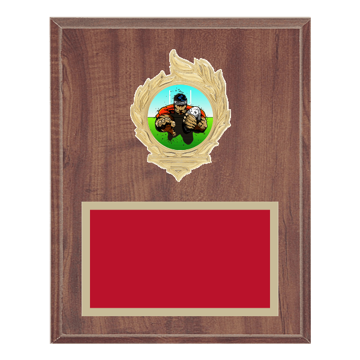 "8"" x 10"" Rugby Plaque with gold background, colored engraving plate, gold flame medallion holder and Rugby insert."