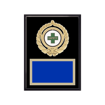 """6"""" x 8"""" Safety Plaque with gold background plate, colored engraving plate, gold open wreath medallion holder and Safety insert."""