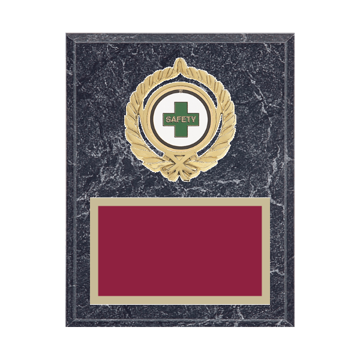 """7"""" x 9"""" Safety Plaque with gold background plate, colored engraving plate, gold open wreath medallion holder and Safety insert."""