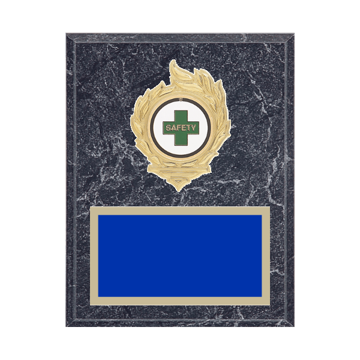 "7"" x 9"" Safety Plaque with gold background, colored engraving plate, gold flame medallion holder and Safety insert."
