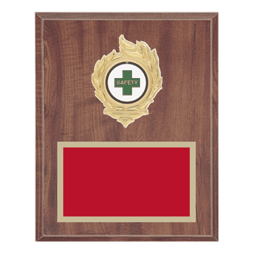 "8"" x 10"" Safety Plaque with gold background, colored engraving plate, gold flame medallion holder and Safety insert."