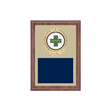 "5"" x 7"" Safety Plaque with gold background plate, colored engraving plate, gold wreath medallion and Safety insert."