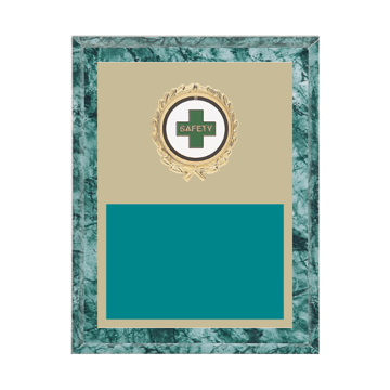 """7"""" x 9"""" Safety Plaque with gold background plate, colored engraving plate, gold wreath medallion and Safety insert."""