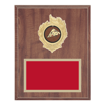 "8"" x 10"" Shuffleboard Plaque with gold background, colored engraving plate, gold flame medallion holder and Shuffleboard insert."