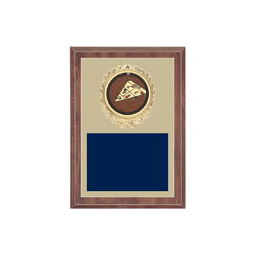 "5"" x 7"" Shuffleboard Plaque with gold background plate, colored engraving plate, gold wreath medallion and Shuffleboard insert."