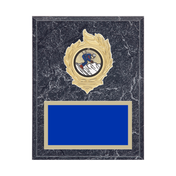 "7"" x 9"" Skiing Plaque with gold background, colored engraving plate, gold flame medallion holder and Skiing insert."