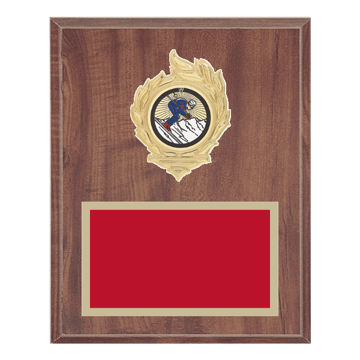 "8"" x 10"" Skiing Plaque with gold background, colored engraving plate, gold flame medallion holder and Skiing insert."