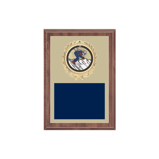 "5"" x 7"" Skiing Plaque with gold background plate, colored engraving plate, gold wreath medallion and Skiing insert."
