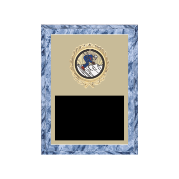 "6"" x 8"" Skiing Plaque with gold background plate, colored engraving plate, gold wreath medallion and Skiing insert."