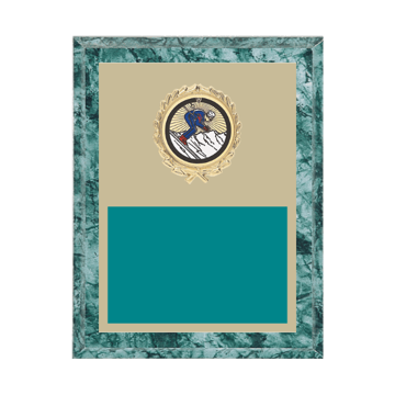 "7"" x 9"" Skiing Plaque with gold background plate, colored engraving plate, gold wreath medallion and Skiing insert."
