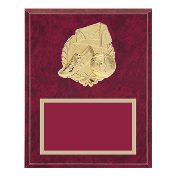 """8"""" x 10"""" Soccer Plaque with gold background plate, colored engraving plate and gold 3D Soccer medallion."""