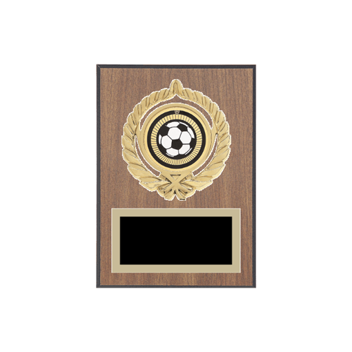 "5"" x 7"" Soccer Plaque with gold background plate, colored engraving plate, gold open wreath medallion holder and Soccer insert."