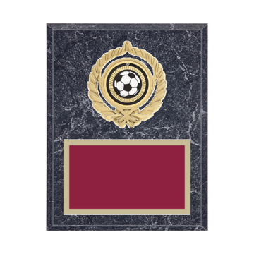 "7"" x 9"" Soccer Plaque with gold background plate, colored engraving plate, gold open wreath medallion holder and Soccer insert."