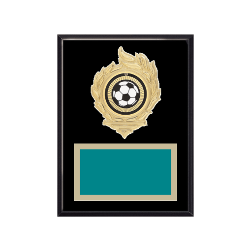 """6"""" x 8"""" Soccer Plaque with gold background, colored engraving plate, gold flame medallion holder and Soccer insert."""
