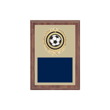 "5"" x 7"" Soccer Plaque with gold background plate, colored engraving plate, gold wreath medallion and Soccer insert."