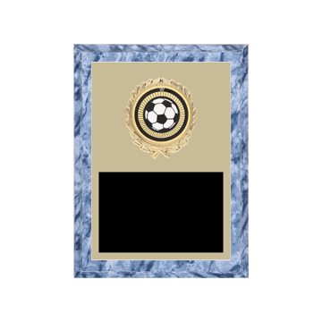 "6"" x 8"" Soccer Plaque with gold background plate, colored engraving plate, gold wreath medallion and Soccer insert."