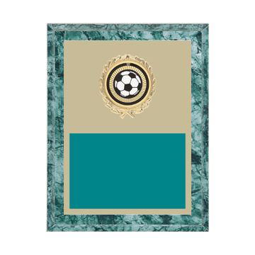 "7"" x 9"" Soccer Plaque with gold background plate, colored engraving plate, gold wreath medallion and Soccer insert."