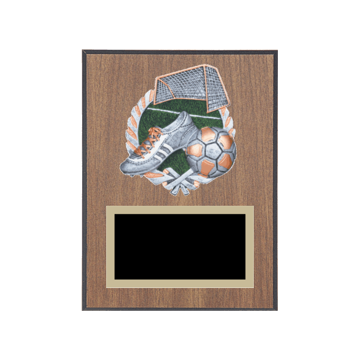 """6"""" x 8"""" Soccer Plaque with gold background plate, colored engraving plate and full color 3D resin Soccer medallion."""