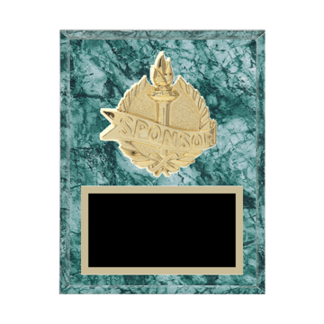 "7"" x 9"" Sponsor Plaque with gold background plate, colored engraving plate and gold 3D Sponsor medallion."