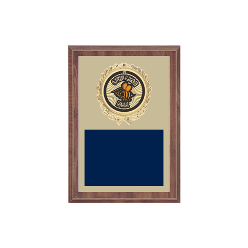 """5"""" x 7"""" Spelling Bee Plaque with gold background plate, colored engraving plate, gold wreath medallion and Spelling Bee insert."""
