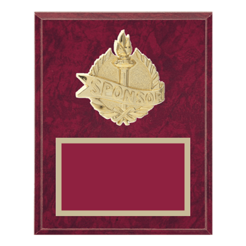 "8"" x 10"" Sponsor Plaque with gold background plate, colored engraving plate and gold 3D Sponsor medallion."