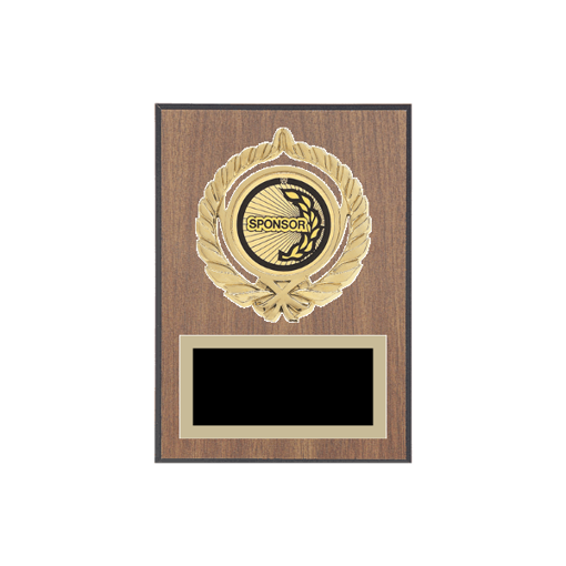 "5"" x 7"" Sponsor Plaque with gold background plate, colored engraving plate, gold open wreath medallion holder and Sponsor insert."