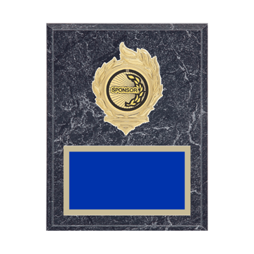 "7"" x 9"" Sponsor Plaque with gold background, colored engraving plate, gold flame medallion holder and Sponsor insert."