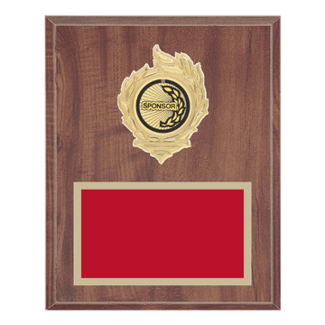 "8"" x 10"" Sponsor Plaque with gold background, colored engraving plate, gold flame medallion holder and Sponsor insert."