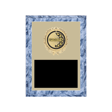 "6"" x 8"" Sponsor Plaque with gold background plate, colored engraving plate, gold wreath medallion and Sponsor insert."