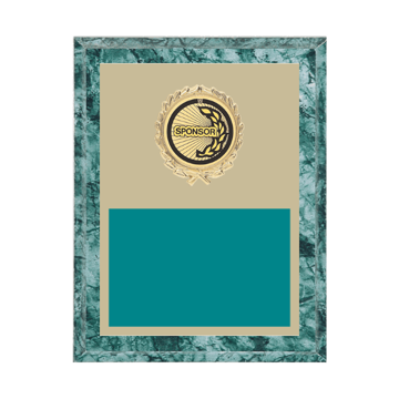 "7"" x 9"" Sponsor Plaque with gold background plate, colored engraving plate, gold wreath medallion and Sponsor insert."