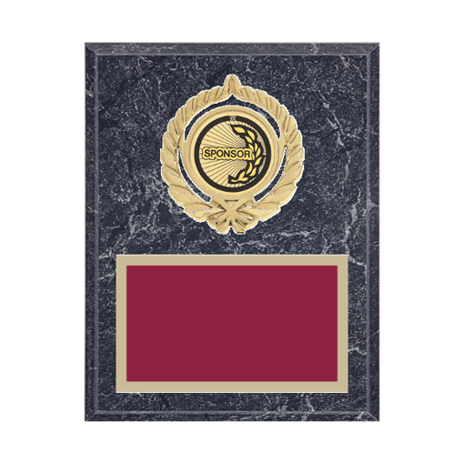 "7"" x 9"" Sponsor Plaque with gold background plate, colored engraving plate, gold open wreath medallion holder and Sponsor insert."