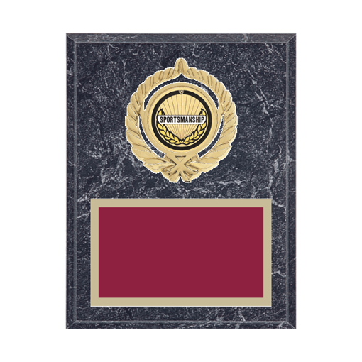 """7"""" x 9"""" Sportsmanship Plaque with gold background plate, colored engraving plate, gold open wreath medallion holder and Sportsmanship insert."""